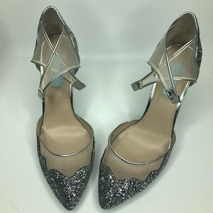 Blue by Betsey Johnson Silver Glitter Heels
